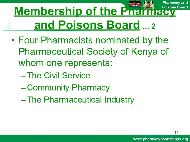 Pharmacy and Poisons Board Membership of the Pharmacy and Poisons Board … 2 •