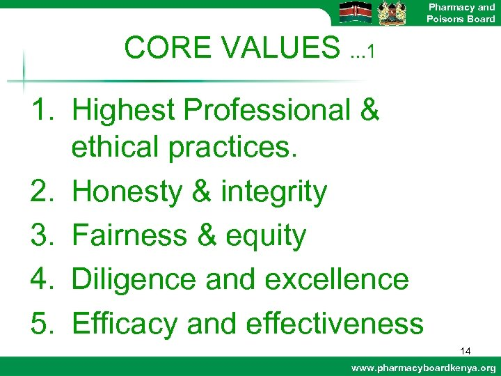 Pharmacy and Poisons Board CORE VALUES. . . 1 1. Highest Professional & ethical