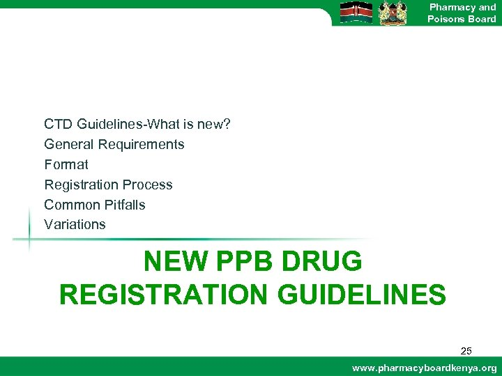 Pharmacy and Poisons Board CTD Guidelines-What is new? General Requirements Format Registration Process Common