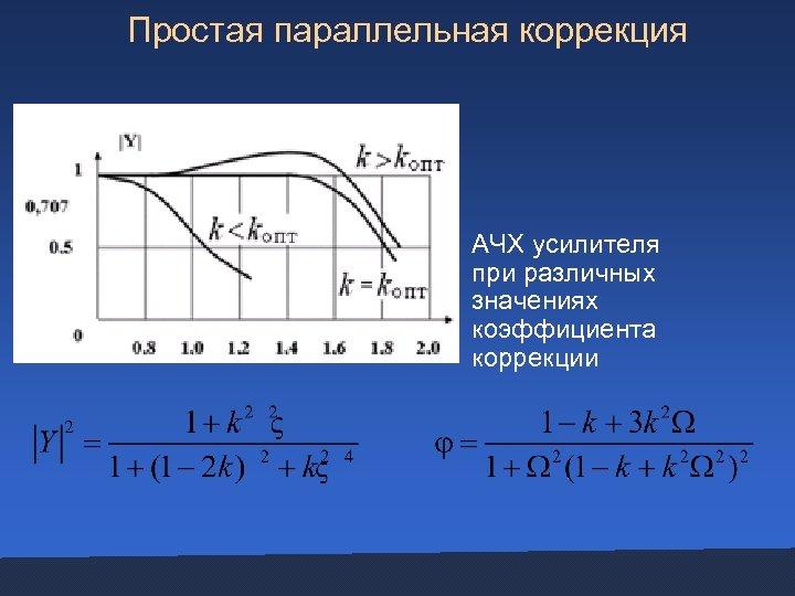 Простая параллельная коррекция АЧХ усилителя при различных значениях коэффициента коррекции