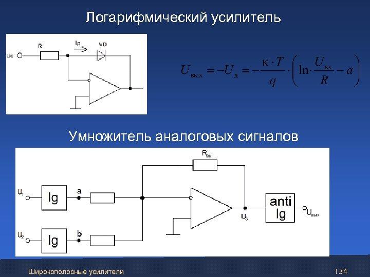 Логарифмический усилитель Умножитель аналоговых сигналов Широкополосные усилители 134
