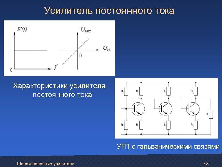 Усилитель постоянного тока Характеристики усилителя постоянного тока УПТ с гальваническими связями Широкополосные усилители