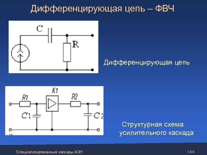 Дифференцирующая цепь – ФВЧ Дифференцирующая цепь Структурная схема усилительного каскада Специализированные каскады АЭУ 144