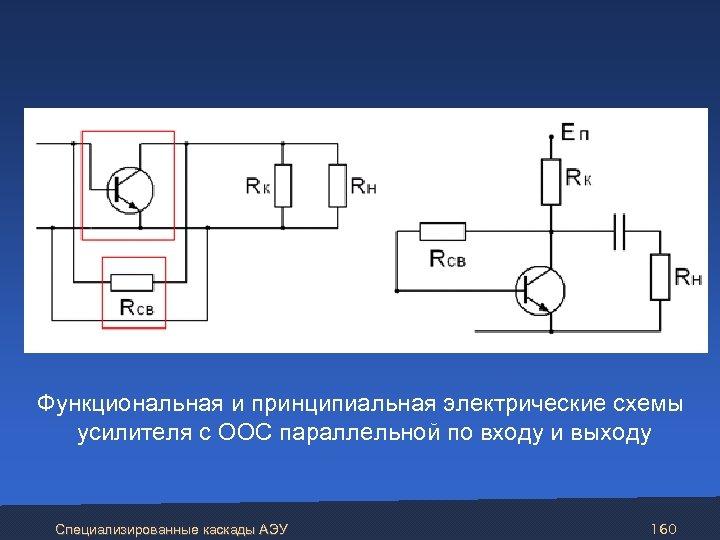Функциональная и принципиальная электрические схемы усилителя с ООС параллельной по входу и выходу