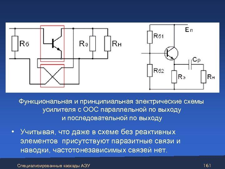 Функциональная и принципиальная электрические схемы усилителя с ООС параллельной по выходу и последовательной