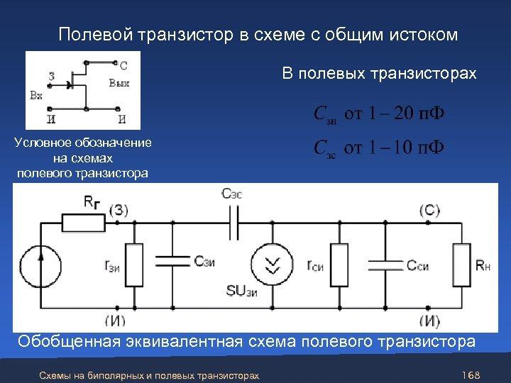 Полевой транзистор в схеме с общим истоком В полевых транзисторах Условное обозначение на