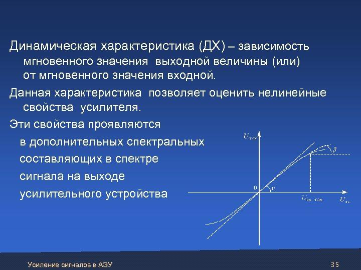 Динамическая характеристика (ДХ) – зависимость мгновенного значения выходной величины (или) от мгновенного значения
