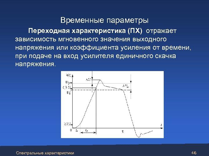 Временные параметры Переходная характеристика (ПХ) отражает зависимость мгновенного значения выходного напряжения или коэффициента
