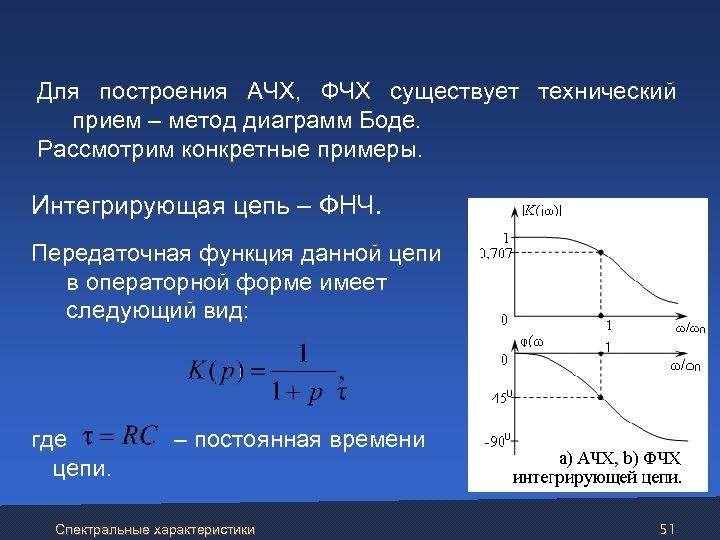 Для построения АЧХ, ФЧХ существует технический прием – метод диаграмм Боде. Рассмотрим конкретные