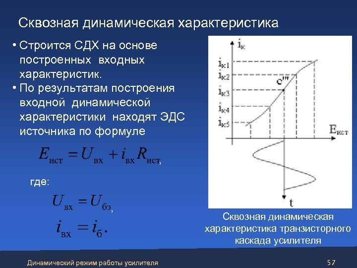 Сквозная динамическая характеристика • Строится СДХ на основе построенных входных характеристик. • По