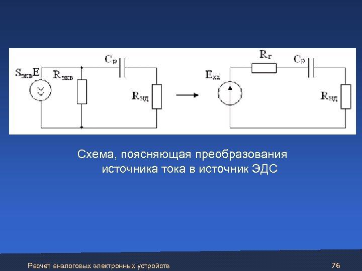 Схема, поясняющая преобразования источника тока в источник ЭДС Расчет аналоговых электронных устройств 76
