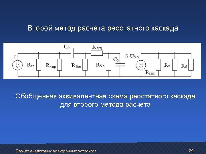 Второй метод расчета реостатного каскада Обобщенная эквивалентная схема реостатного каскада для второго метода расчета