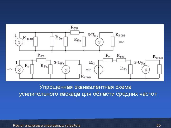 Упрощенная эквивалентная схема усилительного каскада для области средних частот Расчет аналоговых электронных устройств 80