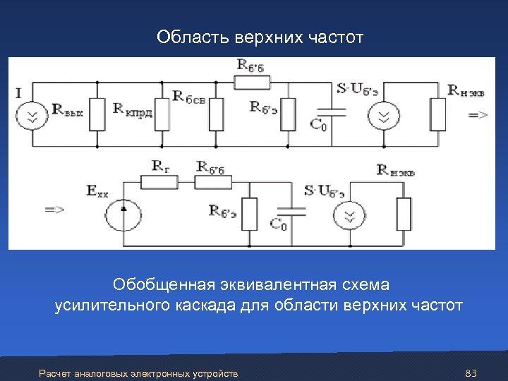 Область верхних частот Обобщенная эквивалентная схема усилительного каскада для области верхних частот Расчет