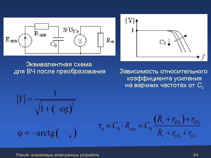 Эквивалентная схема для ВЧ после преобразования Расчет аналоговых электронных устройств Зависимость относительного коэффициента