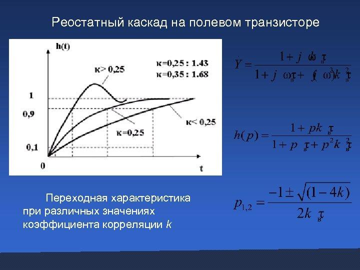 Реостатный каскад на полевом транзисторе Переходная характеристика при различных значениях коэффициента корреляции k