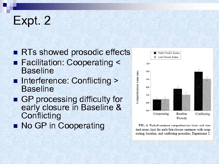 Expt. 2 n n n RTs showed prosodic effects Facilitation: Cooperating < Baseline Interference: