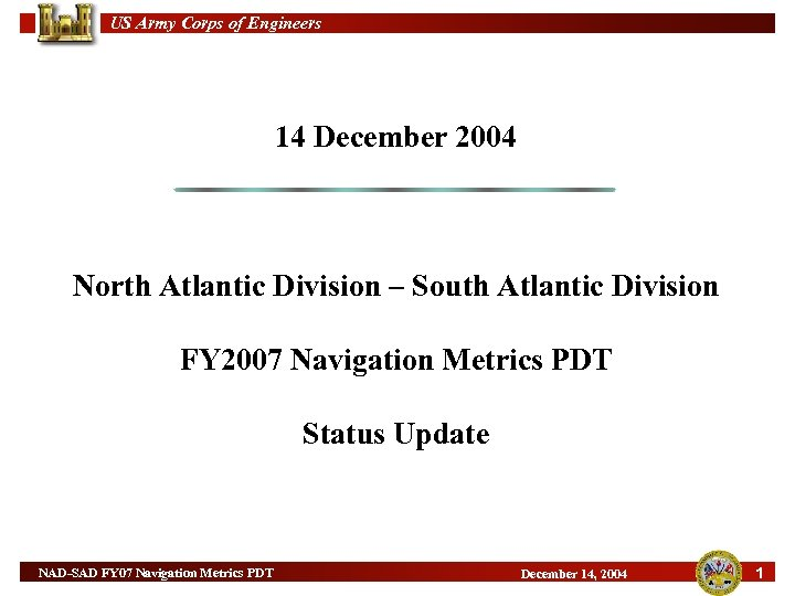 US Army Corps of Engineers 14 December 2004 North Atlantic Division – South Atlantic