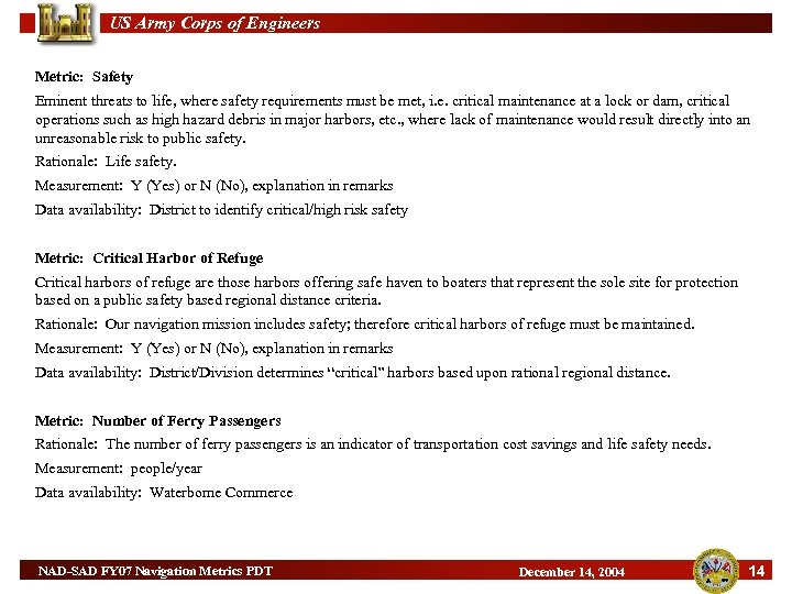US Army Corps of Engineers Metric: Safety Eminent threats to life, where safety requirements