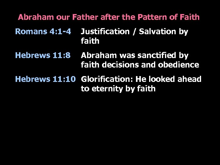 Abraham our Father after the Pattern of Faith Romans 4: 1 -4 Justification /