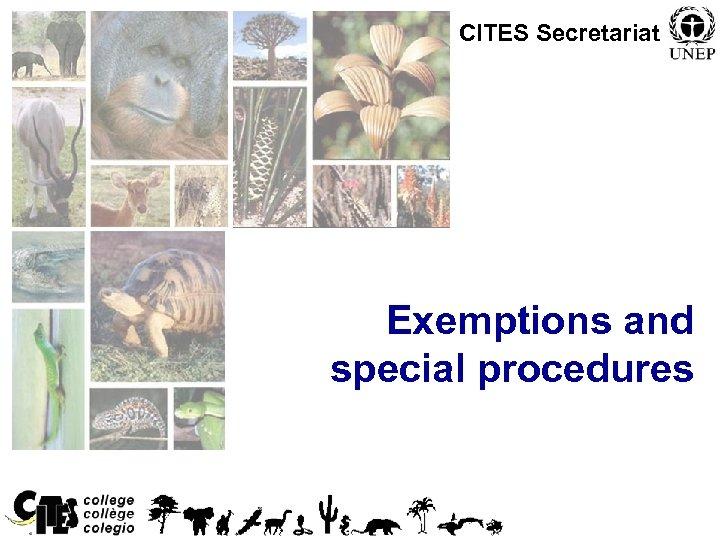 CITES Secretariat Exemptions and special procedures 1