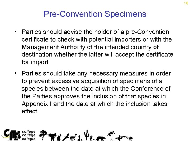 16 Pre-Convention Specimens • Parties should advise the holder of a pre-Convention certificate to