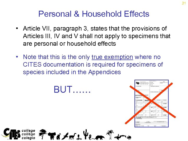 21 Personal & Household Effects • Article VII, paragraph 3, states that the provisions
