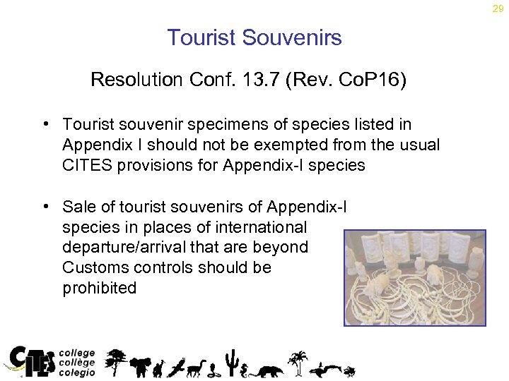 29 Tourist Souvenirs Resolution Conf. 13. 7 (Rev. Co. P 16) • Tourist souvenir