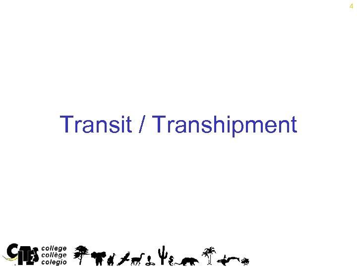 4 Transit / Transhipment