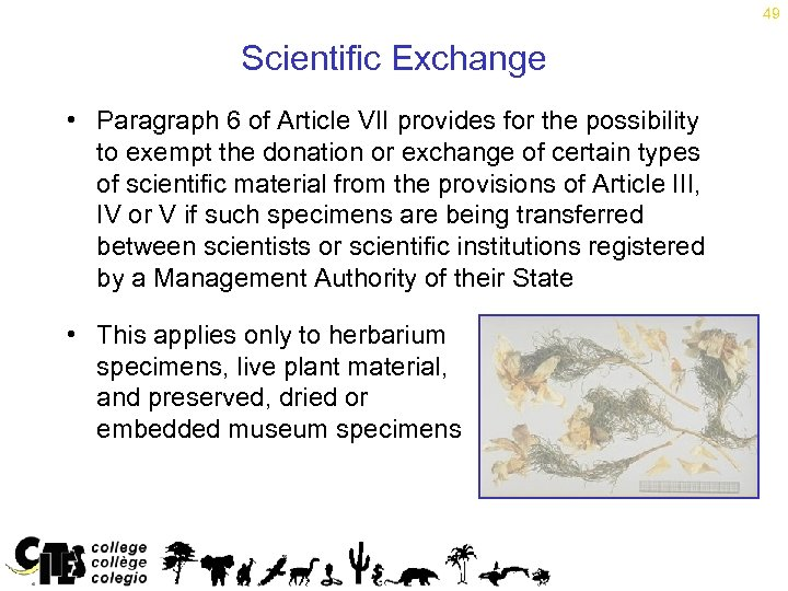 49 Scientific Exchange • Paragraph 6 of Article VII provides for the possibility to