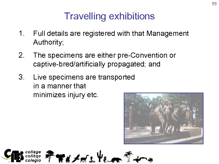 55 Travelling exhibitions 1. Full details are registered with that Management Authority; 2. The