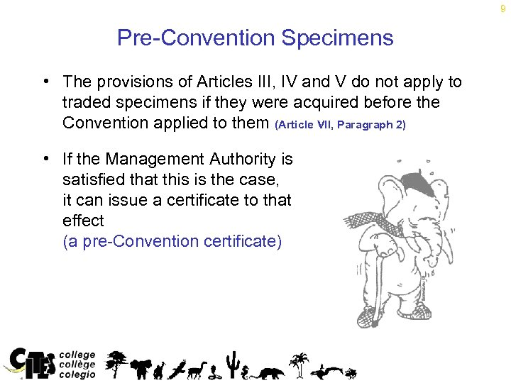 9 Pre-Convention Specimens • The provisions of Articles III, IV and V do not