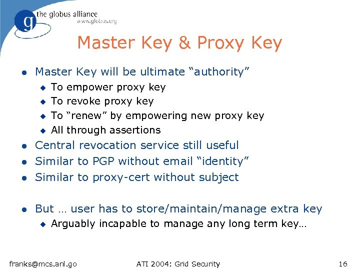 "Master Key & Proxy Key l Master Key will be ultimate ""authority"" u u"