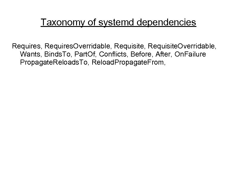 Taxonomy of systemd dependencies Requires, Requires. Overridable, Requisite. Overridable, Wants, Binds. To, Part. Of,