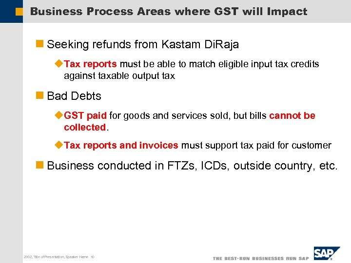 Business Process Areas where GST will Impact n Seeking refunds from Kastam Di. Raja