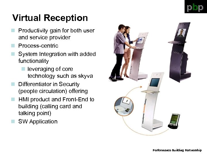 pbp Virtual Reception n Productivity gain for both user and service provider n Process-centric