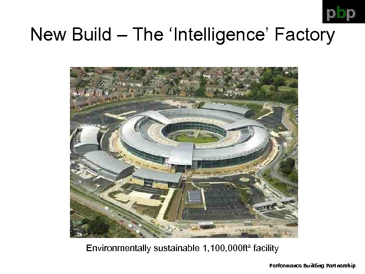pbp New Build – The 'Intelligence' Factory Environmentally sustainable 1, 100, 000 ft² facility