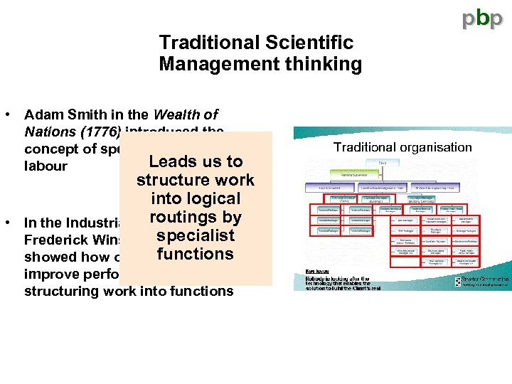 pbp Traditional Scientific Management thinking • Adam Smith in the Wealth of Nations (1776)