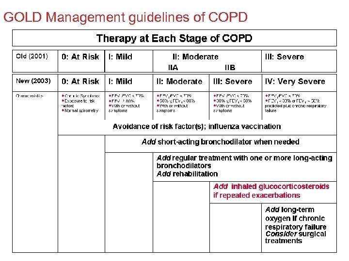 GOLD Management guidelines of COPD GOLD workshop report update 2003