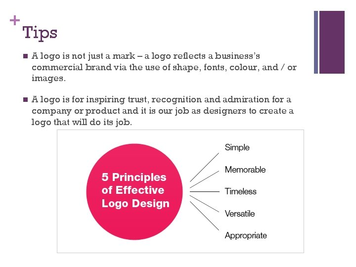+ Tips n A logo is not just a mark – a logo reflects