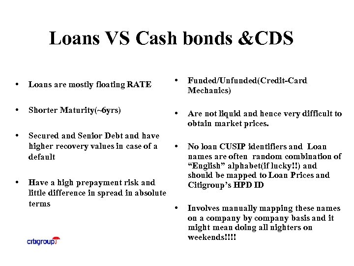 Loans VS Cash bonds &CDS • Loans are mostly floating RATE • Funded/Unfunded(Credit-Card Mechanics)