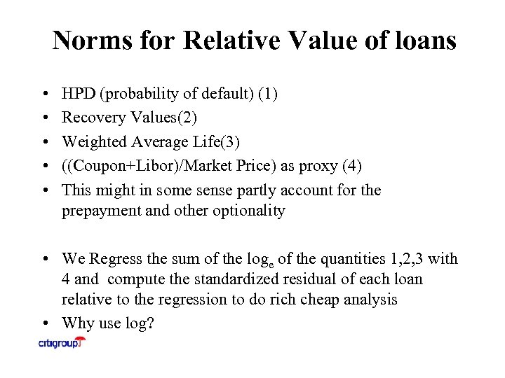 Norms for Relative Value of loans • • • HPD (probability of default) (1)