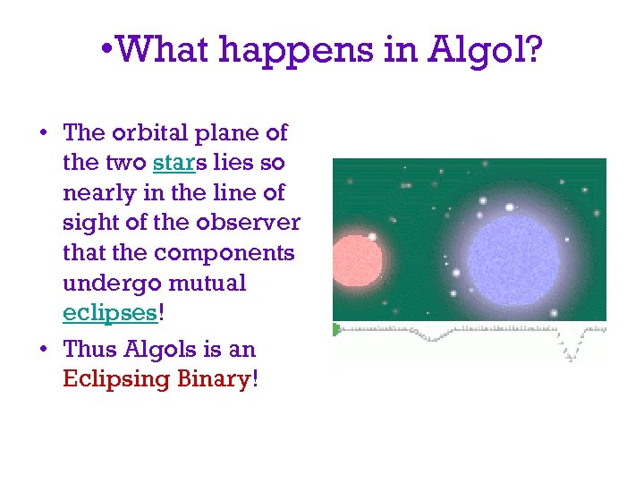 • What happens in Algol? • The orbital plane of the two stars