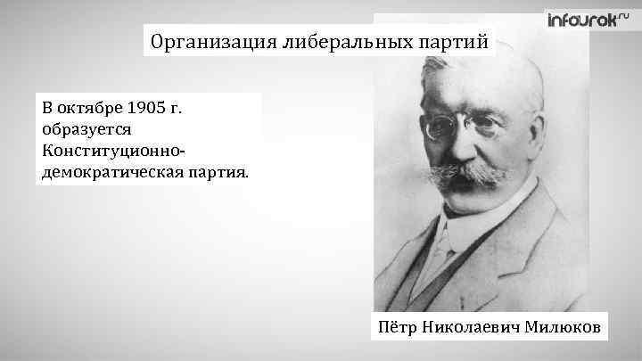 Организация либеральных партий В октябре 1905 г. образуется Конституционнодемократическая партия. Пётр Николаевич Милюков