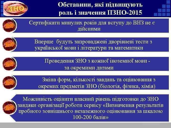 Обставини, які підвищують роль і значення ПЗНО-2015 Сертифікати минулих років для вступу до ВНЗ