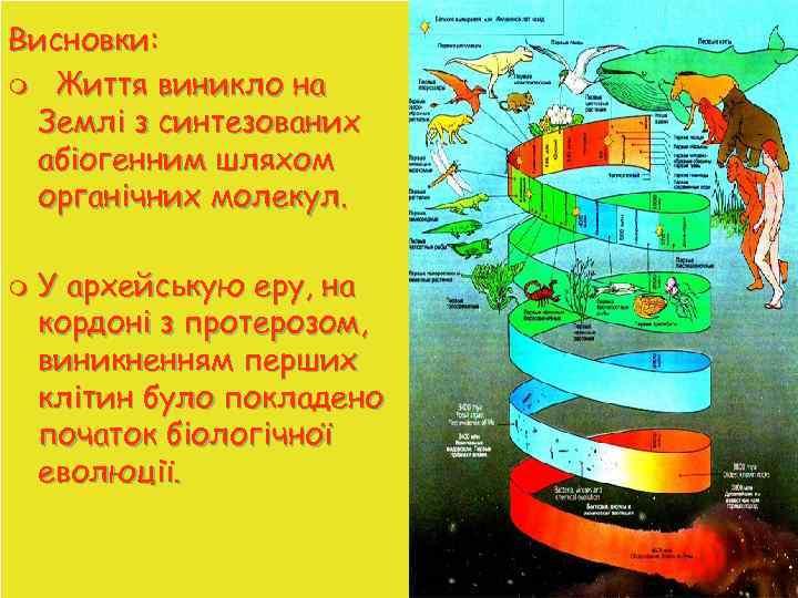 Висновки: m Життя виникло на Землі з синтезованих абіогенним шляхом органічних молекул. m У