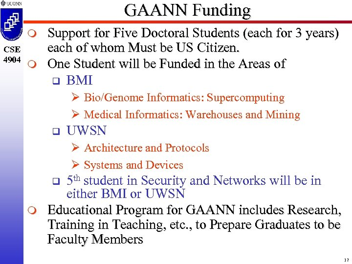 GAANN Funding m CSE 4904 m Support for Five Doctoral Students (each for 3