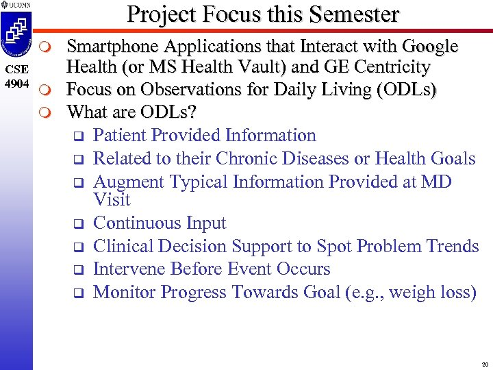 Project Focus this Semester m CSE 4904 m m Smartphone Applications that Interact with