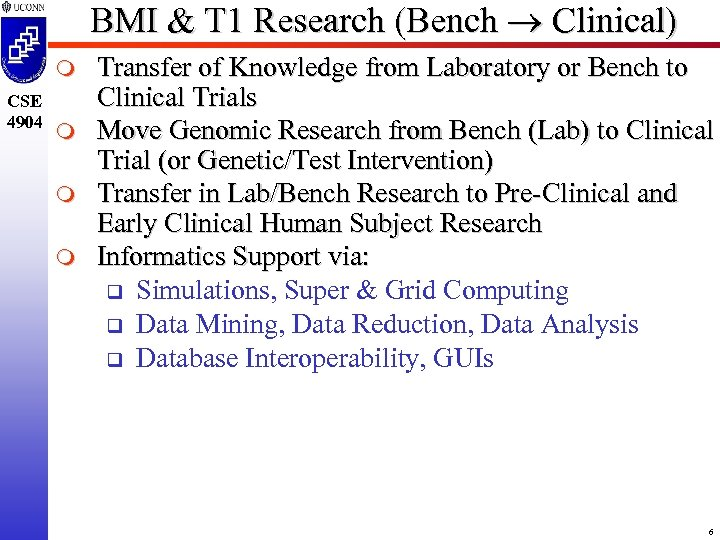 BMI & T 1 Research (Bench Clinical) m CSE 4904 m m m Transfer