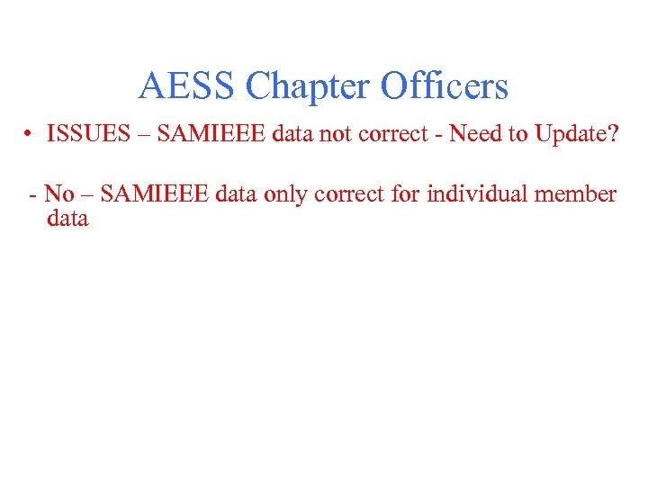 AESS Chapter Officers • ISSUES – SAMIEEE data not correct - Need to Update?